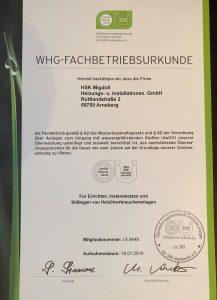 zertifizierter Fachbetrieb: Heizölverbraucheranlagen nach Wasserhaushaltgesetz